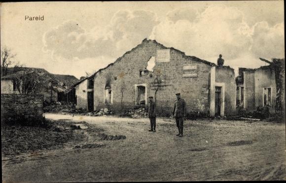 Ak Pareid Lothringen Meuse, Straßenpartie, Kriegszerstörungen, I. WK