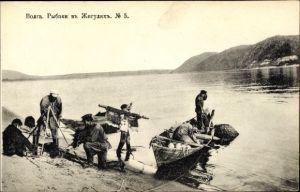 Ak Wolga Russland, Fischer aus dem Schiguli Gebirge am Flussufer, Boote