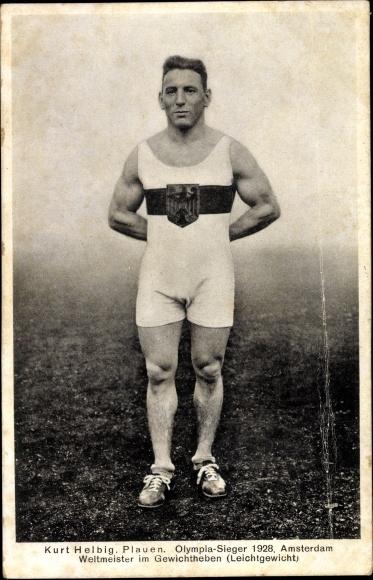Ak Kurt Helbig aus Plauen, Olympiasieger 1928 Amsterdam, Weltmeister im Gewichtheben