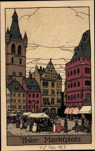 Steindruck Ak Trier in Rheinland Pfalz, Marktplatz