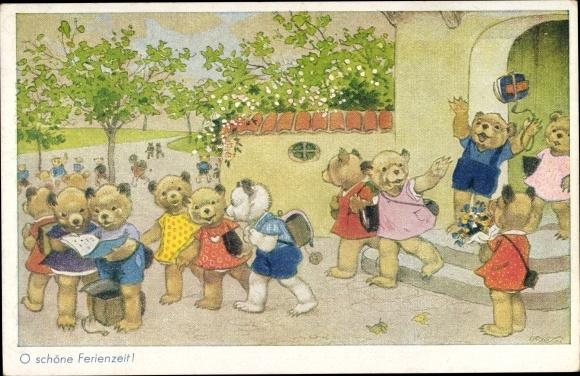 Künstler Ak Baumgarten, Fritz, O schöne Ferienzeit, Bärenkinder verlassen die Schule