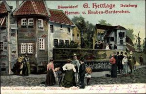 Ak Düsseldorf, Kunst u. Gartenbau Ausstellung 1904, Alt Düsseldorf, Garderoben G. Hettlage, Besucher