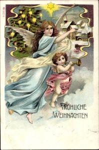 Litho Frohe Weihnachten, Engel mit Trompete, Tannenbaum, Stern