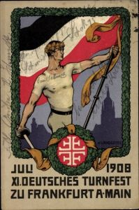 Ganzsachen Steindruck Ak Landgrebe, h., Frankfurt am Main, XI. Deutsches Turnfest, Juli 1908