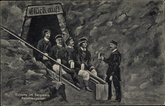 Ak Berchtesgaden in Oberbayern, Rutsche im Bergwerk