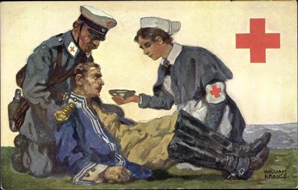 Künstler Ak Krause, William, Rotes Kreuz Sachsen, Verwundeter Soldat, Krankenschwester, Arzt