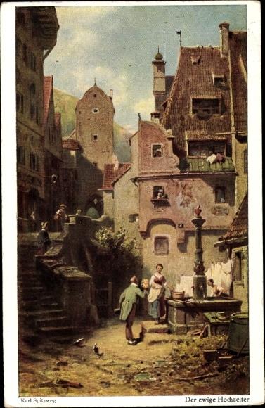 Künstler Ak Spitzweg, Carl, Der ewige Hochzeiter, Brunnen