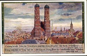 Künstler Ak Durst, J., München Bayern, Blick auf den Petersturm