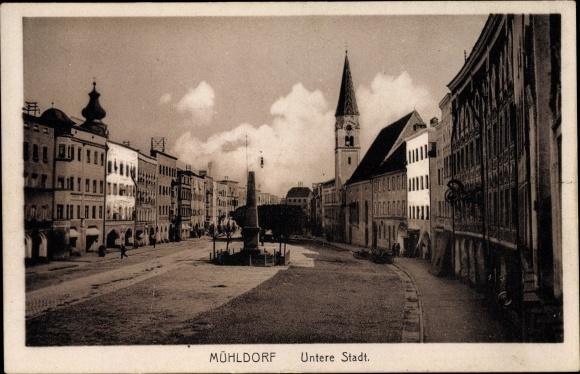 Ak Mühldorf am Inn Bayerisches Alpenvorland, Untere Stadt, Denkmal, Kirchturm