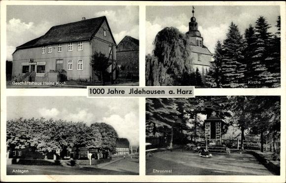 Ak Ildehausen Seesen in Niedersachsen, Geschäftshaus Heinz Koch, Kirche, Anlagen, Ehrenmal