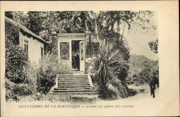 Ak Saint Pierre Martinique, Entrée du Jardin des Plantes, Eingangstor
