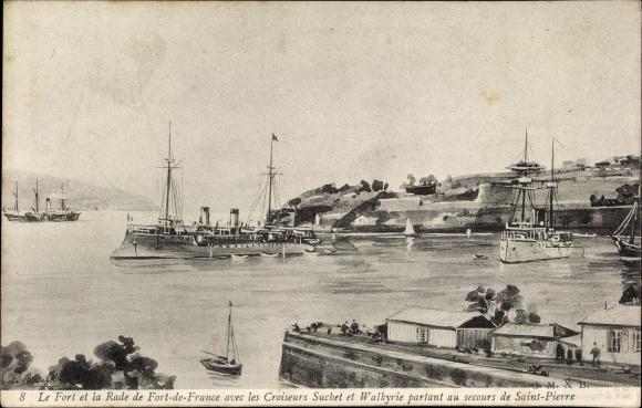 Ak Fort de France Martinique, Fort et la Rade, Croiseurs Suchet et Walkyrie, Französ. Kriegsschiffe