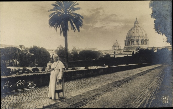 Ak Vatikan Rom Lazio, Papst Pius X, Straßenpartie, Petersdom