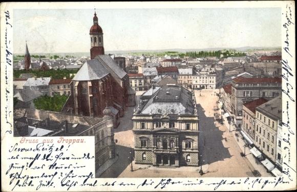 Ak Opava Troppau Reg. Mährisch Schlesien, Blick über die Dächer der Stadt, Kirche, Läden