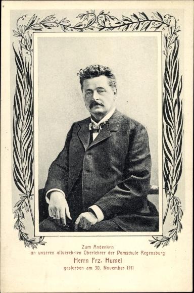 Passepartout Ak Regensburg Donau, Oberlehrer der Domschule, Franz Humel, Trauerkarte 1911