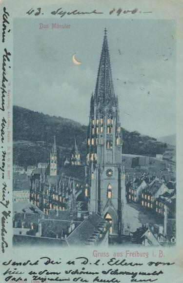 Haltgegendaslicht Ak Freiburg im Breisgau, Das Münster