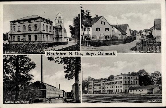 Ak Neufahrn Niederbayern, Schulhaus, Rottenburger Straße, Dachziegelwerke, Bahnhof