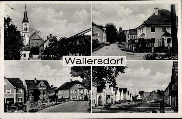 Ak Wallersdorf Niederbayern, Bahnhofstraße, Bachstraße, Hauptstraße, Kirche