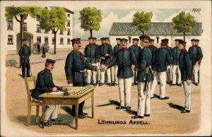 Litho Soldaten beim Löhnungsappell, Soldauszahlung, Bruno Bürger 7510