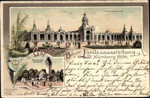 Litho Nürnberg in Mittelfranken Bayern, Bayerische Landesausstellung 1896,Industriegebäude,Bierhalle