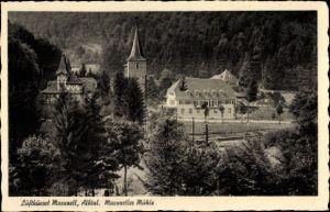 Ak Marxzell im Albtal, Gasthaus Marxzeller Mühle, Kirchturm, Fachwerkhaus