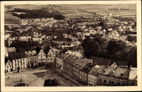 Ak Tachov Tachau Reg. Pilsen, Südseite, Blick über die Dächer der Stadt