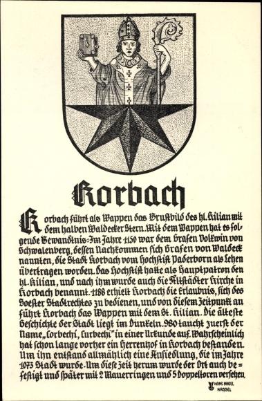 Wappen Ak Korbach in Hessen, St. Kilian, Waldecker Stern