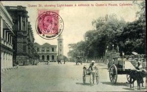 Ak Colombo Ceylon Sri Lanka, Queen Street, Lighthouse, Queen's House, Leuchtturm, Rikschafahrer