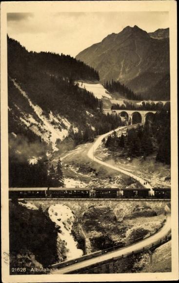 Ak Schweiz, Albulabahn, Viadukt, Talblick