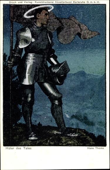 Künstler Ak Thoma, Hans, Hüter des Tales, Ritter