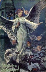 Künstler Ak Frohe Weihnachten, Engel mit Palmenzweig