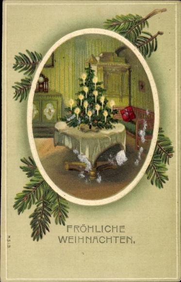 Präge Passepartout Ak Frohe Weihnachten, Tanne