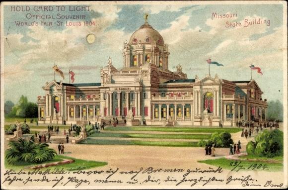 Haltgegendaslicht Litho St. Louis Missouri USA, Missouri State Building, World's Fair 1904