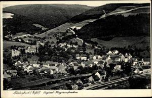 Ak Mürlenbach Eifel, Fliegeraufnahme vom Ort, Bahnhof