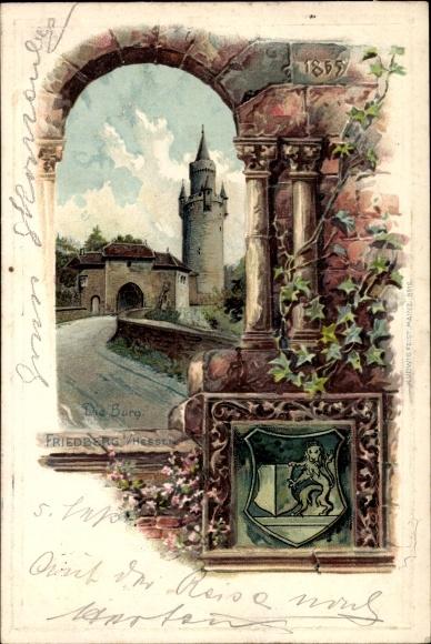 Präge Wappen Passepartout Litho Friedberg in Hessen, Burg
