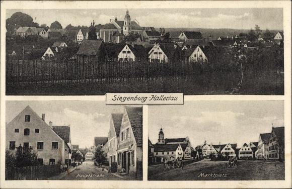 Ak Siegenburg Hallertau Niederbayern, Hauptstraße, Marktplatz, Totalansicht