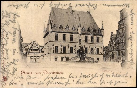 Ak Osnabrück in Niedersachsen, Partie am Rathaus