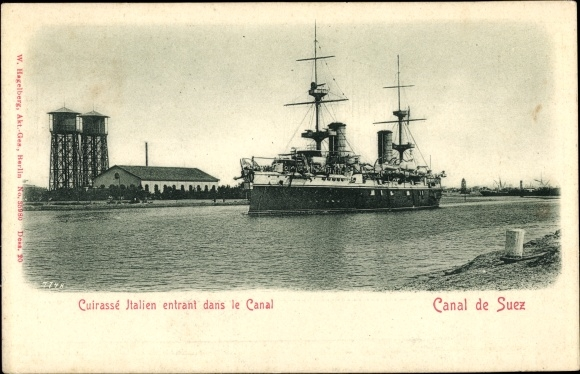 Ak Suez Ägypten, Cuirassé Italien entrant dans le Canal, Italienisches Kriegsschiff im Suezkanal