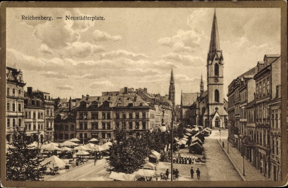 Ak Liberec Reichenberg Stadt, Neustädter Platz, Marktstände, Kirche