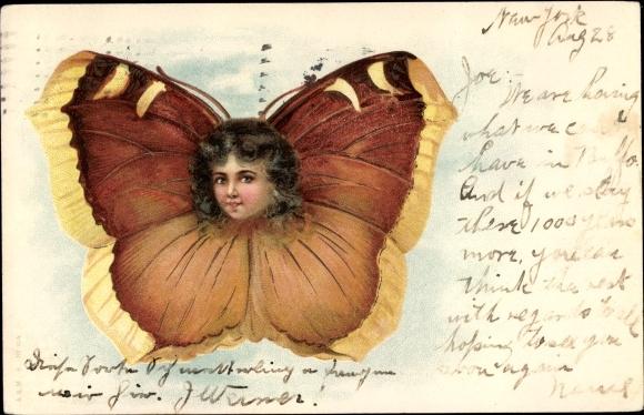 Litho Vermenschlichter Schmetterling, Kopf eines Mädchens, braune Locken