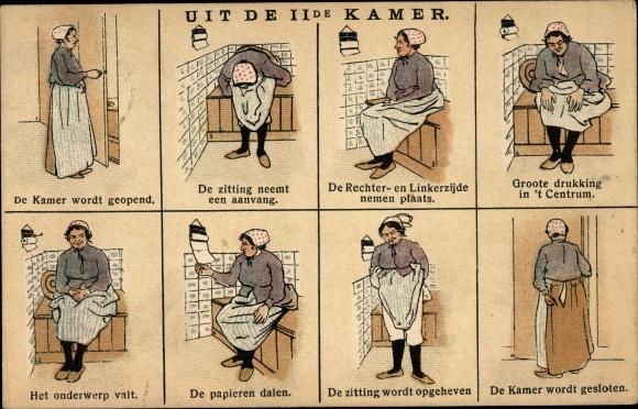 Künstler Ak Uit de IIde Kamer, Anleitung für Benutzung einer Toilette, Frau auf dem Plumpsklo