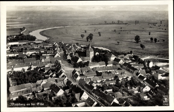 Ak Mühlberg an der Elbe Brandenburg, Klinke Fliegeraufnahme 17422