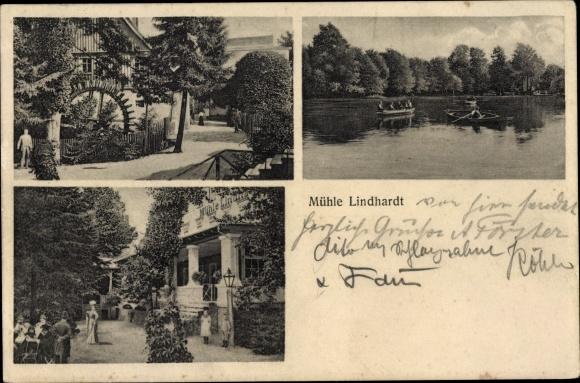 Ak Lindhardt Naunhof in Sachsen, Mühle Lindhardt, Außenansicht, Mühlenrad, Uferpartie, Ruderboote