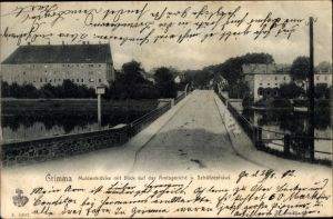 Ak Grimma in Sachsen, Muldenbrücke m. Blick auf das Amtsgericht u. Schützenhaus