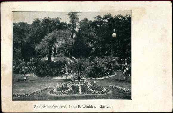 Ak Halle an der Saale, Saalschloss Brauerei, Inh. F. Winkler, Garten