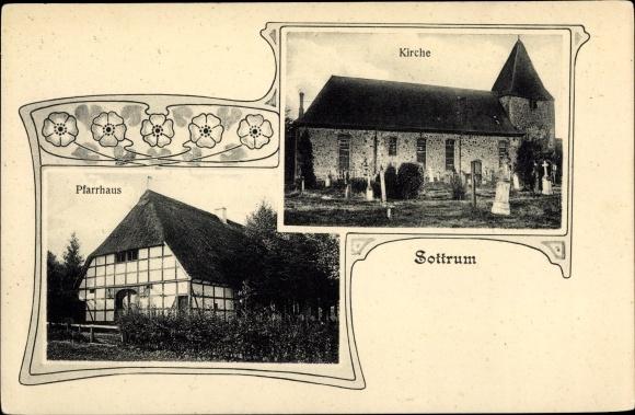 Ak Sottrum in Niedersachsen, Pfarrhaus, Kirche