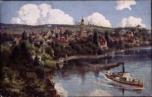 Künstler Ak Überlingen am Bodensee Baden Württemberg, Kirche, Wohnhäuser, Schiff