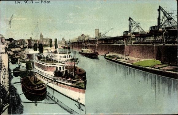 Ak Köln, Hafen, Schiffe, Anlegeplatz