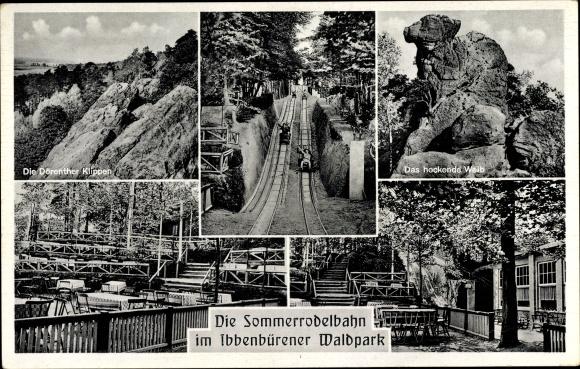 Ak Ibbenbüren im Tecklenburger Land, Waldpark, Hockendes Weib, Dörenther Klippen, Sommerrodelbahn