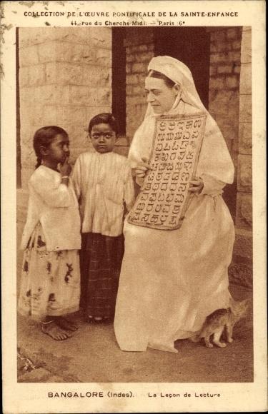 Ak Bangalore Indien, La leçon de lecture, Kinder, Schwester, Kannada Schrift
